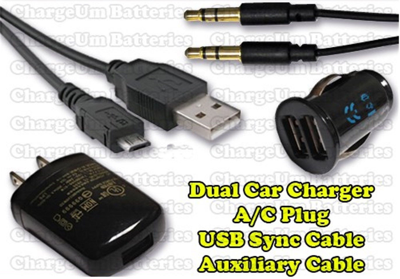 Samsung Stratosphere 1405 USB Cable + Auxiliary Cord + Dual Car Charger + Plug
