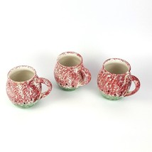 Stoneware Ceramic Watermelon Coffee Mug Set of 3 Cup Tea Spongeware Spon... - $14.50