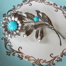 Vintage Flower And Turquoise  Brooch - $32.67