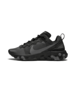 Nike React Element 55 Mens Triple Black Grey Running Shoes BQ6166-008 Si... - $119.99