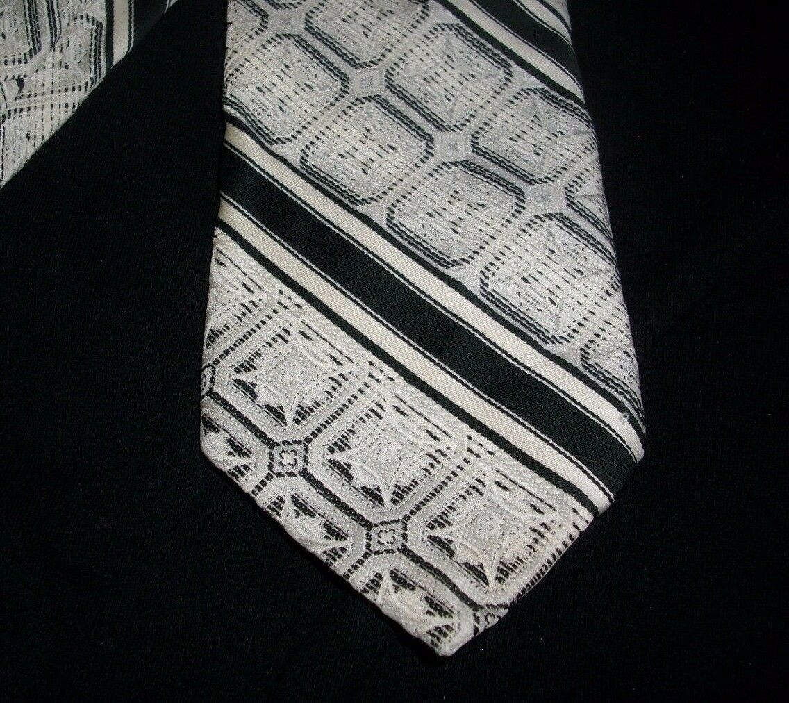 Primary image for VINTAGE SEARS THE MENS STORE BLACK WHITE GRAY STRIPES SQUARES SHAPE NYLON TIE