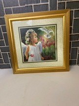 HOME INTERIORS PICTURE BY LAURIE SNOW HEIN ANGEL GIRL W/DOVE & TULIPS EUC - $19.80
