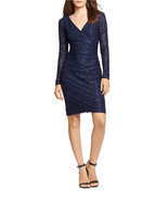 New Lauren Ralph Lauren Women Sequined Lace Surplice Sheath Dress Navy - $1.787,85 MXN