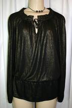 JONES NEW YORK Black Gold Keyhole Pleated Collar Elastic Waist Knit Top PS - $13.61