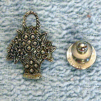 "Primary image for Avon Flower Basket Scatter Pin 1"" Faux Marcasite Lapel Brooch Floral VTG 1980s"