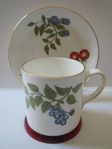 Crown Staffordshire - Coffee Can (Shape) Teacup And Saucer - Fruit - Gold Trim - $21.00