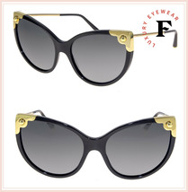 DOLCE & GABBANA LUCIA DG 4337 Black Gold Cat Eye Sunglasses DG4337S Auth... - $267.30