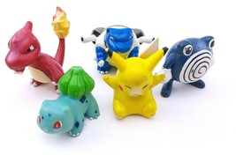VTG Pokemon TOMY PVC Figure Lot  Pikachu + Poliwhirl + Charmander ++  - $9.50