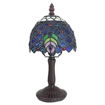 Ravishing Peacock Petite Tiffany-Style Table Lamp - £60.05 GBP
