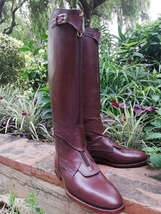 Brown Handmade Tall Leather Riding Boots Men Boots for Horse Riding Polo Boots - $388.90 - $398.90