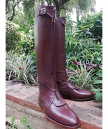 Brown Handmade Tall Leather Riding Boots Men Boots for Horse Riding Polo... - $388.90+