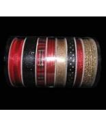 32 Yards Coordinating Red Black Gold Narrow Ribbon Florist, Flowers, Art... - $34.72