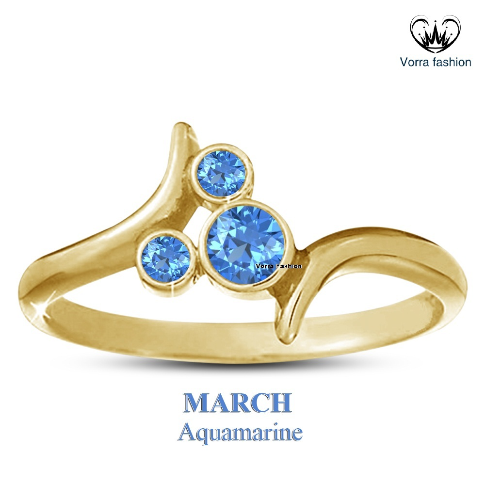 Primary image for Aquamarine Round Cut Mickey Mouse Ring Yellow Gold 925 Silver March Birthstone