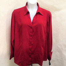 Notations 22/24W Top Red Button Down Long Sleeve Plus Size Shirt New - $23.50