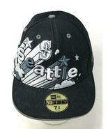 Seattle Mariners Spellout Black Wool New Era 59FIFTY Fitted 7 3/8 Hat 3D... - $22.24