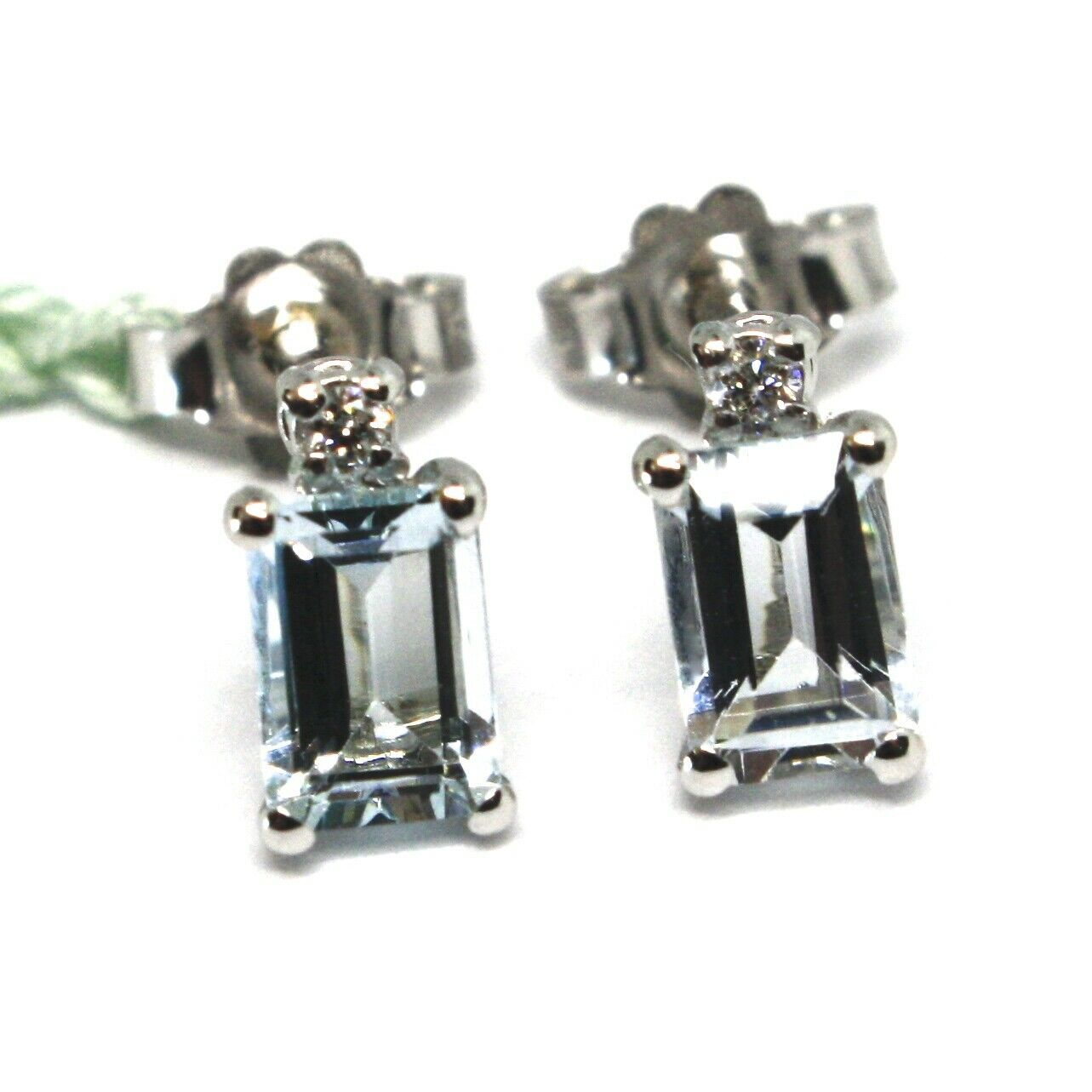 18K WHITE GOLD AQUAMARINE EARRINGS 0.90 EMERALD CUT, DIAMONDS, MADE IN ITALY