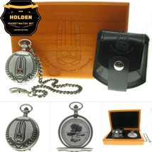 HOLDEN Cars Memorial Silver Pocket Watch Men Gift Set with Chain Pouch W... - €98,03 EUR