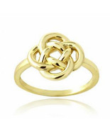 18K Yellow Gold over Sterling Silver Floral Love Knot Ring sz 6-8, geome... - $24.99