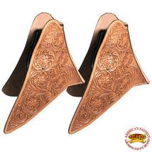 Horse Western Saddle Stirrup Cowboy Leather Tapaderos Cover Tan Hilason U-T117 - $147.46