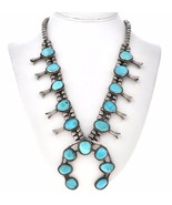 """Vintage Old Pawn Turquoise Squash Blossom Necklace Sterling Choker 19"""" c... - $759.00"""