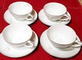 4 Vintage Platinum Wheat China Tea Cup & Saucer Sets - Made in Japan - $21.19