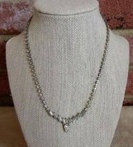 Stunning vintage white rhinestone choker necklace with gorgeous teardrop center - $20.00