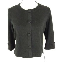 Ann Taylor Size Medium 3/4 Sleeve Black Wool Blend Cardigan Covered Butt... - $19.31