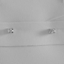 18K WHITE GOLD MINI SQUARE EARRINGS DIAMOND DIAMONDS 0.04 CT, MADE IN ITALY image 1
