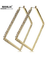 Luxury 80mm Square Metal Big Hoop Earrings Statement Jewelry Rhinestones... - $13.80