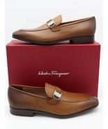 NIB Salvatore Ferragamo Mens Benson Brown Burnished Leather Loafers 11 4... - $345.00