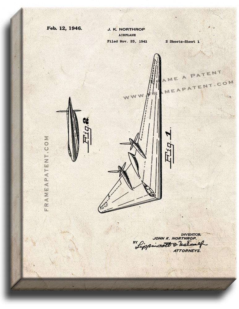 Primary image for Northrop Airplane Patent Print Old Look on Canvas