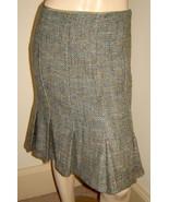 ZARA WOMAN Peacock Blue/Olive Green/Gray Woven Wool Blend Pleated Skirt (4) - $29.30