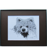 Young Bear, Framed Matted Wildlife Art Print, Pen and Ink, Animal Art Dr... - $39.00