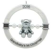 Hallmark Keepsake 2016 Grandbaby's First Christmas Teddy Bear Rattle Orn... - $3.44