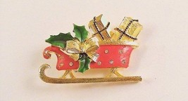 Delightful vintage Christmas Sleigh Pin with Presents - $13.50