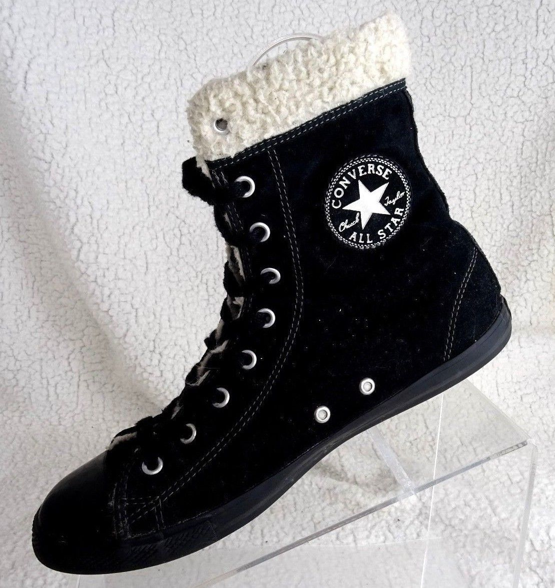 fa59b32710d4 Converse Chuck Taylor All Star Dainty Suede Leather Shearling Black Sz 9  Boots