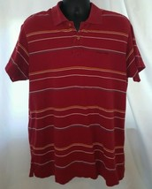 Chaps Sz Large Polo Shirt Short Sleeve Red White Yellow Blue Stripe 100%... - $4.99