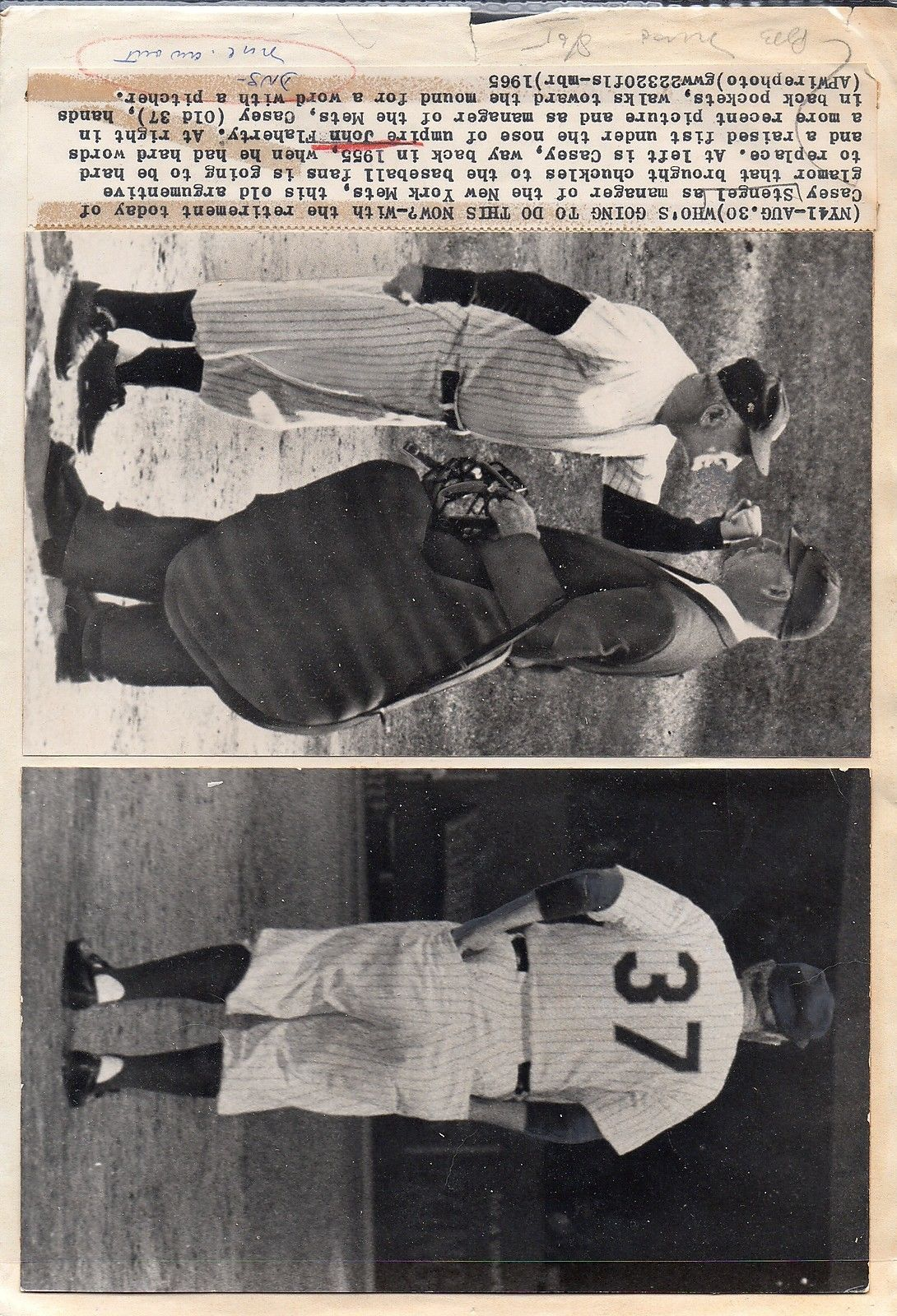 CASEY STENGEL - 9 different original wire photographs - New York Mets
