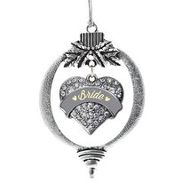 Inspired Silver Cream Bride Pave Heart Holiday Decoration Christmas Tree Ornamen - $14.69