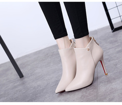 81H003 elegant pointy booties,patent leather, US Size 4-8.5, beige - $52.80