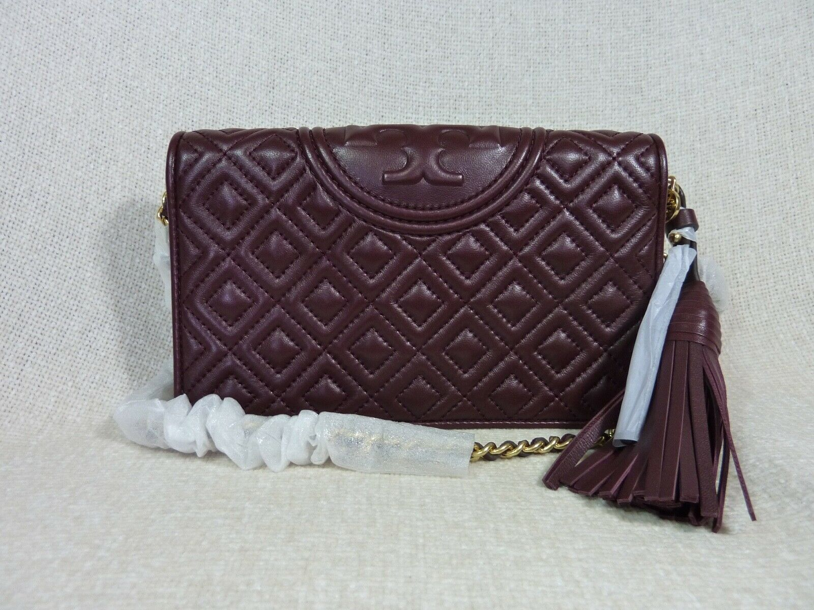 NWT Tory Burch Claret Fleming Wallet Cross Body Bag $328