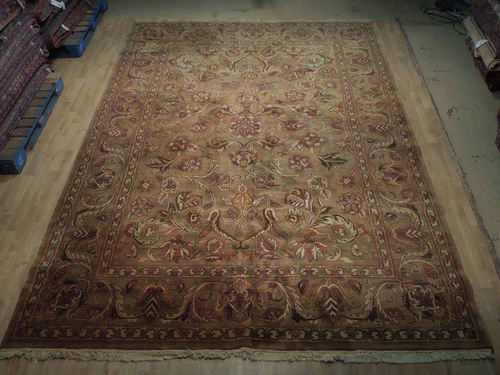Densely Knotted Genuine Handmade 9 x 13 Brown Jaipur Wool Rug image 4