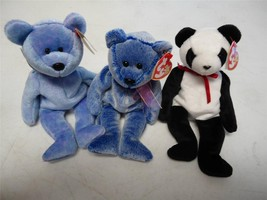 Ty Beanie Baby Bears Fortune 1997 Periwinkle 2000 Clubby II 1999 Lot of 3 - $11.88