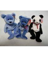 Ty Beanie Baby Bears Fortune 1997 Periwinkle 2000 Clubby II 1999 Lot of 3 - $8.61