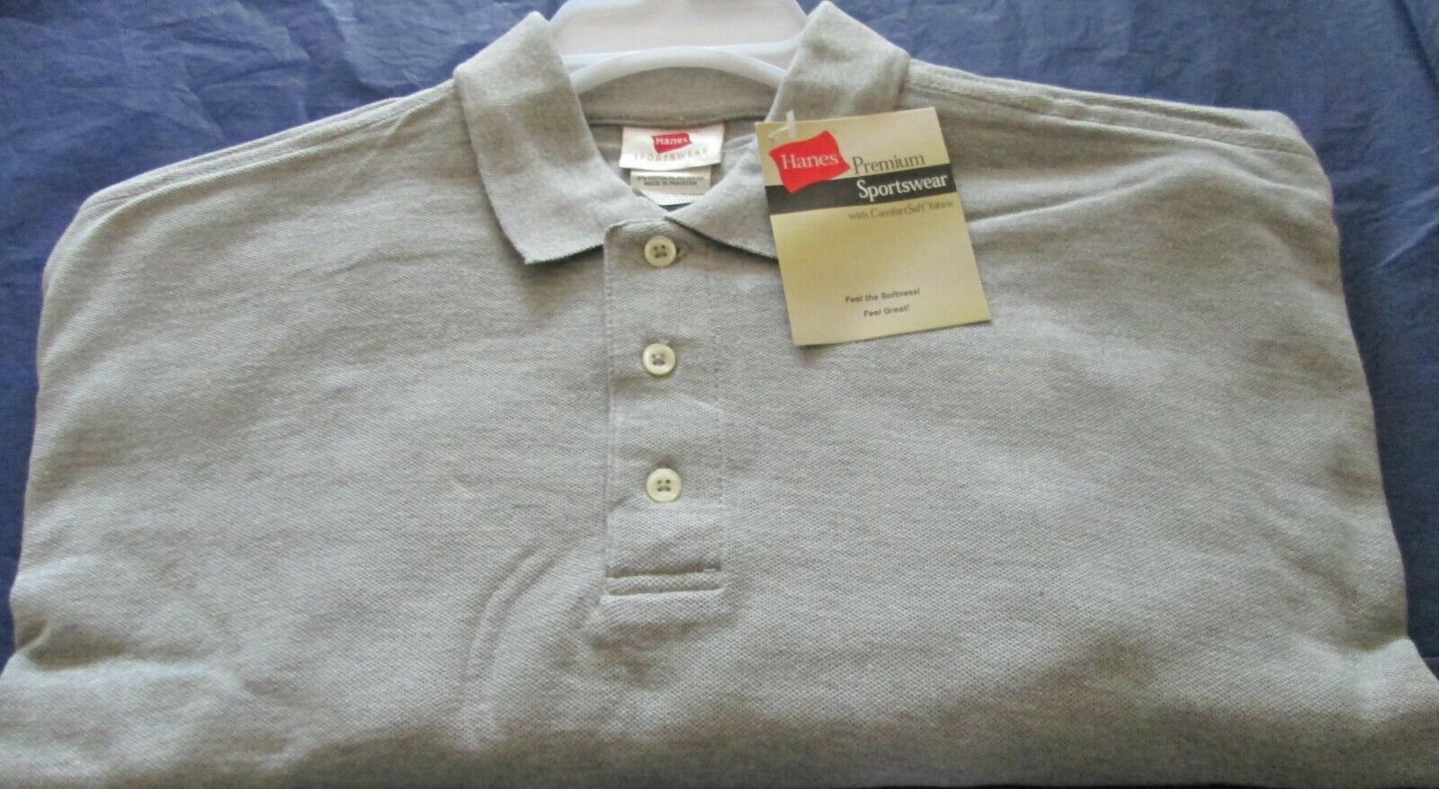 Primary image for Men's Golf Shirt Hanes Long Sleeve 3 PC Beige Color Cotton Comfort Soft Fabric