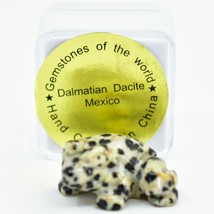 Dalmatian Dacite Gemstone Tiny Miniature Spotted Frog Figurine Hand Carved China image 1