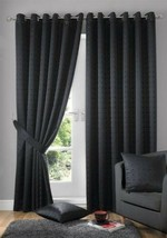 Jacquard Check Black Lined Anneau Top Eyelet Curtains Drapes 6 Sizes - $42.31+
