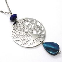 925 Silver Necklace, Lapis Lazuli, pendant locket tree of life, image 3