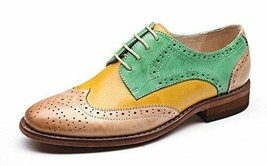 Men Multi Color Wing Tip Genuine Leather Formal Dress Customized Oxford Shoes - $139.90+