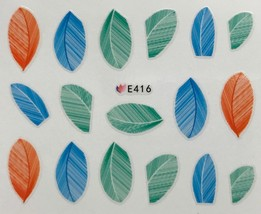 BANG STORE Nail Art 3D Decal Stickers Feathers Blue Green & Orange Feathers CUTE - $3.67